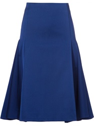Cameo Flared Midi Skirt Blue