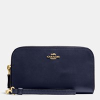 Coach Double Accordion Zip Wallet In Smooth Leather Light Gold Navy