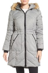 Guess Women's Qulted Anorak With Faux Fur Trim Melange