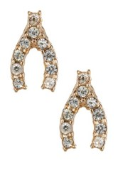 Jules Smith Designs Mini Pave Wishbone Stud Earrings Metallic