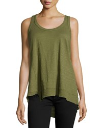 Jethro Twist Asymmetric Racerback Tank Top Green Tea