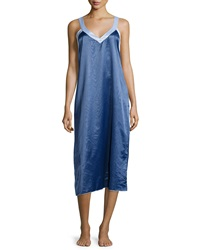 Louis At Home Cassis Long Satin Nightgown Lapis Ice Blue