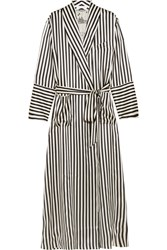 Olivia Von Halle Capability Nika Striped Silk Satin Robe Black