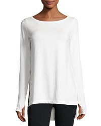 Grey State Willow Long Sleeve High Low Tunic White