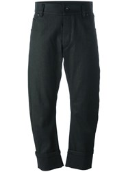 Haider Ackermann Curved Cropped Trousers Black