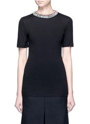 Lanvin Embellished Collar Slub Jersey T Shirt Black