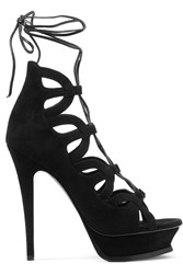 Saint Laurent Tribute 16 Lace Up Suede Platform Sandals Black