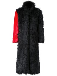 99 Is Fur Effect Contrast Sleeve Coat Black