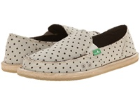 Sanuk Hot Dotty Natural Brown Dots Women's Slip On Shoes Beige