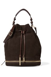 Halston Suede And Coated Leather Shoulder Bag Brown