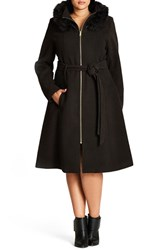 City Chic Plus Size Women's 'Miss Mysterious' Faux Fur Trim Hooded Coat