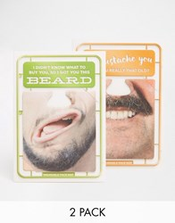 Gifts Brainbox Candy Moustache And Beard Face Mat Birthday Cards In 2 Pack Multi