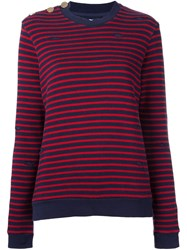 Zoe Karssen Distressed Knit Striped Sweater Red
