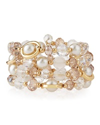 Greenbeads By Emily And Ashley Bead And Rhinestone Wrap Bracelet Light Pink White