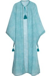 Talitha Fatima Printed Cotton And Silk Blend Coverup Teal