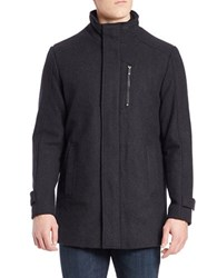 Calvin Klein Wool Blend Zip Front Jacket Charcoal