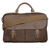 Barbour Wax Cotton And Leather Trim Satchel