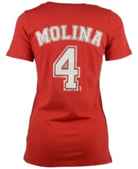 5Th And Ocean Women's Yadier Molina St. Louis Cardinals Foil Player T Shirt Red