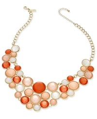 Inc International Concepts Gold Tone Pink Multi Stone Bubble Statement Necklace Only At Macy's