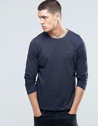 Pretty Green Long Sleeve Top With Paisley Trim In Slim Fit Navy Darkna