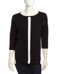 Neiman Marcus Three Quarter Sleeve Colorblock High Low Tunic Black White