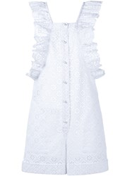 Philosophy Di Lorenzo Serafini Sleeveless Crochet Ruffle Playsuit White Black
