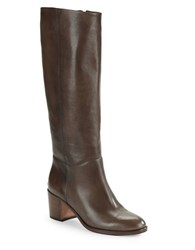 Kate Spade Zip Up Knee High Leather Riding Boots Dark Taupe