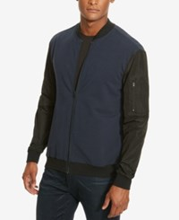 Kenneth Cole New York Men's Contrast Sleeve Bomber Jacket Indigo