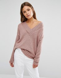 New Look Knitted Oversized V Neck Jumper Pink
