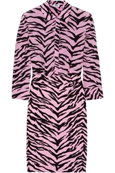 Moschino Cheap And Chic Tiger Print Silk Chiffon And Crepe Shirt Dress
