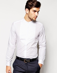 Asos Smart Tux Shirt In Long Sleeve With Bib And Grandad Collar White
