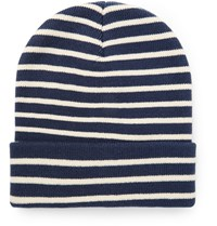 J.Crew Striped Knitted Beanie Blue