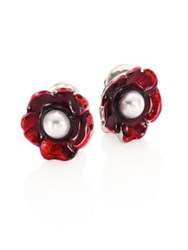 Oscar De La Renta Floral Resin And Faux Pearl Clip On Stud Earrings