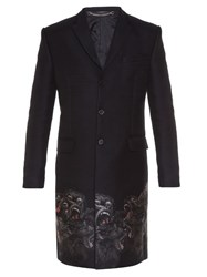 Givenchy Gorillas Embroidered Notch Lapel Coat Black Multi