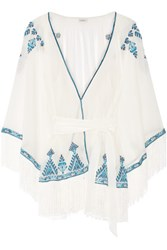 Talitha Kumari Embroidered Silk Crepe Jacket Ivory