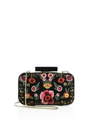 Alice Olivia Large Bohemian Embroidered Leather Clutch Black Multi