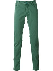 Jacob Cohen Houndstooth Pattern Jeans Green