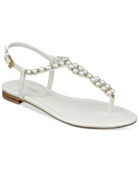 Marc Fisher Fiesty Embellished Flat Sandals Women's Shoes Ivory