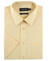 Double Two Classic Plain Short Sleeve Shirt Cream