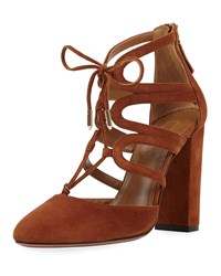Aquazzura Holli Suede Curvy Caged Pump Cognac Red