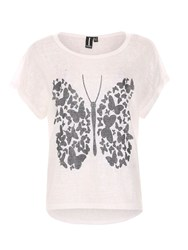 Izabel London Graphic Butterfly Print Top White