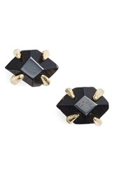 Treasure And Bond Women's Stone Stud Earrings Black Onyx Gold