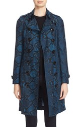 Burberry Women's Sandringham Snake Print Silk Trench Coat