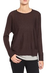 Eileen Fisher Women's Ballet Neck Boxy High Low Pullover Clove