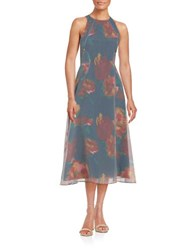 Rachel Roy Sleeveless Floral And Striped Dress Navy