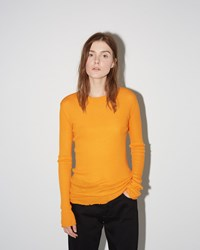 Proenza Schouler Ribbed Pullover Bright Tangerine