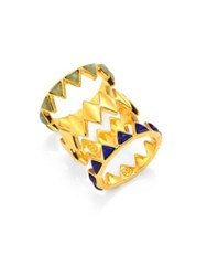 Tory Burch Puzzle Lapis And Aventurine Rings Gold Multi
