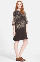Max Mara 'Bianca' Owl Print Silk Crepe Tunic Dress Black