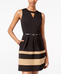 Amy Byer Bcx Juniors' Belted Colorblocked A Line Dress Camel Black
