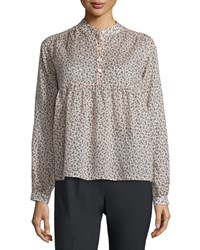 Michael Kors Collection Long Sleeve Mini Floral Print Blouse Nude Black Size 4